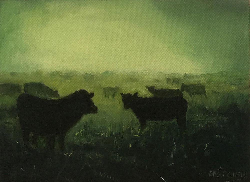 """Cows In The Mist"" original fine art by Patricia Matranga"