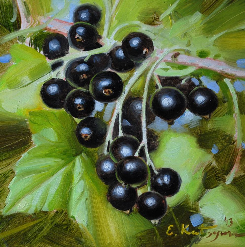 """Blackcurrant Twig"" original fine art by Elena Katsyura"