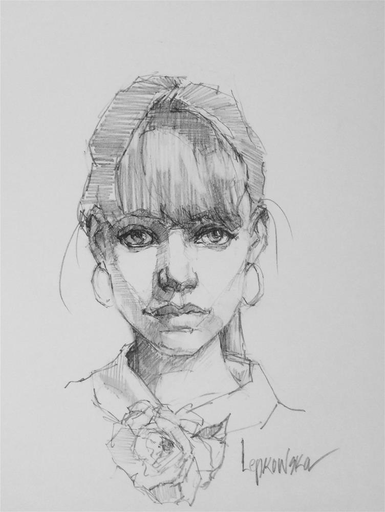 """""""Flower Girl - 6"""" original fine art by Laurie Johnson Lepkowska"""