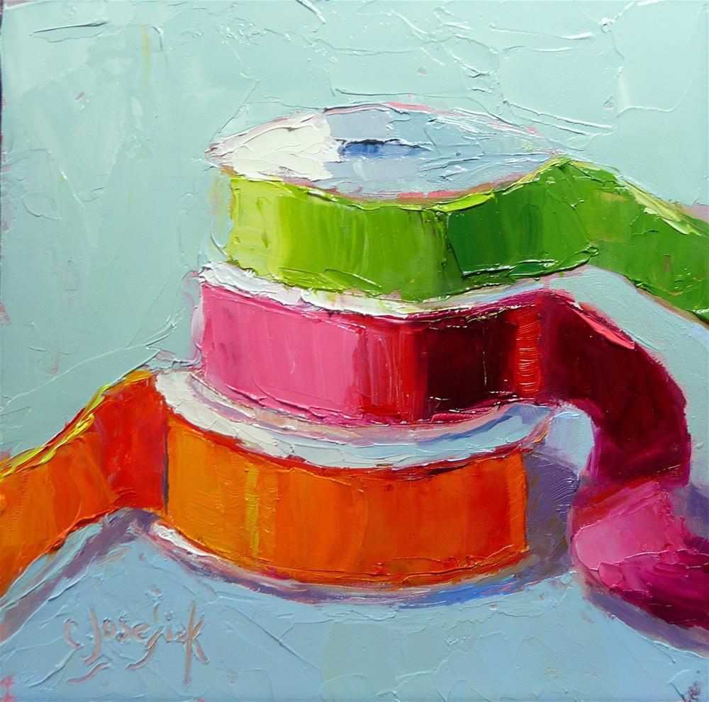 """Three ribbons"" original fine art by Carol Josefiak"