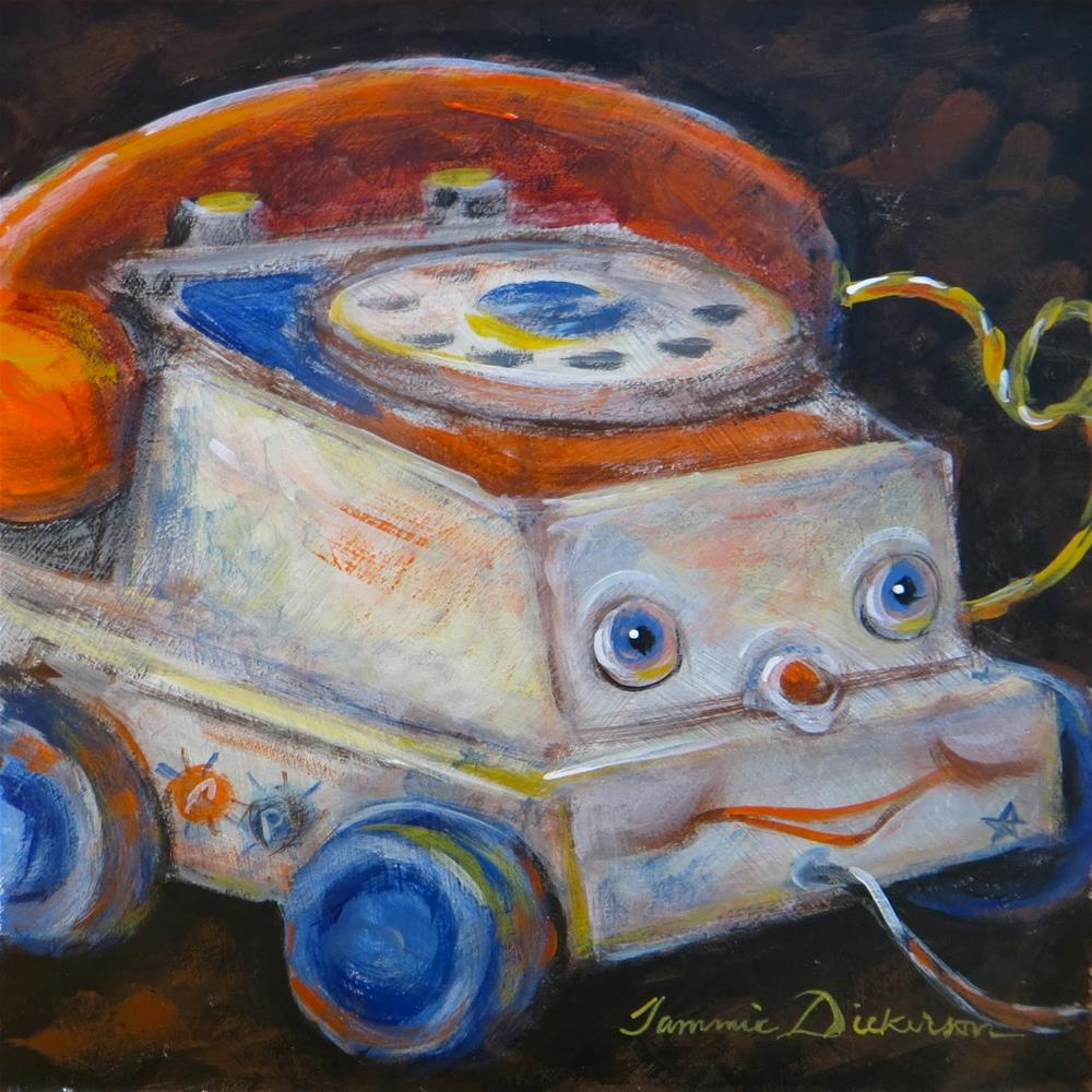 """""""Telephone Pull Toy"""" original fine art by Tammie Dickerson"""
