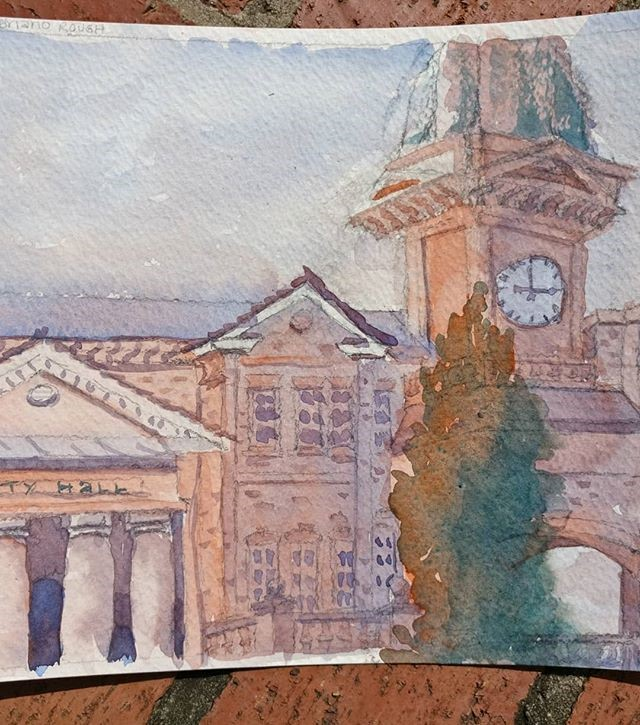 """Duluth, GA City Hall"" original fine art by Maria Peagler"