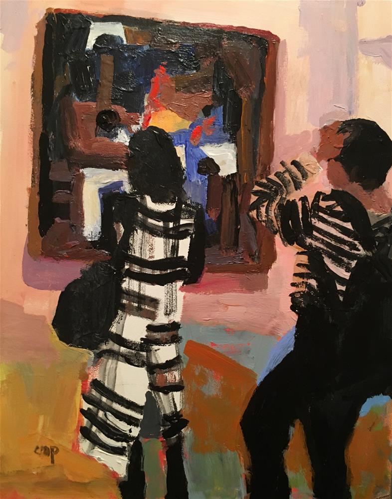 """Museum Goers"" original fine art by Christine Parker"
