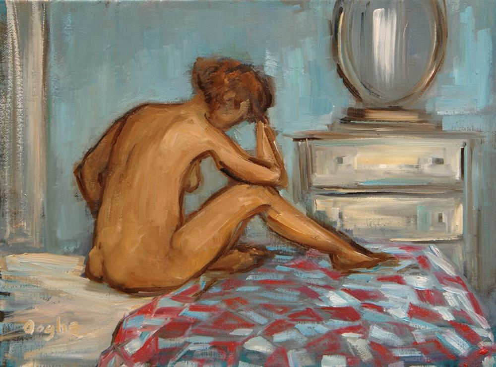 """Woman in Bedroom"" original fine art by Angela Ooghe"