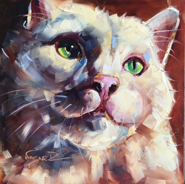 """GREEN EYES"" original fine art by Olga Wagner"