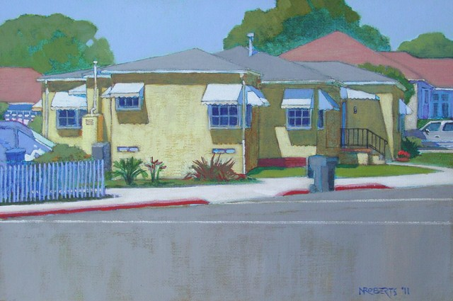 """Yellow House, San Diego"" original fine art by Nancy Roberts"