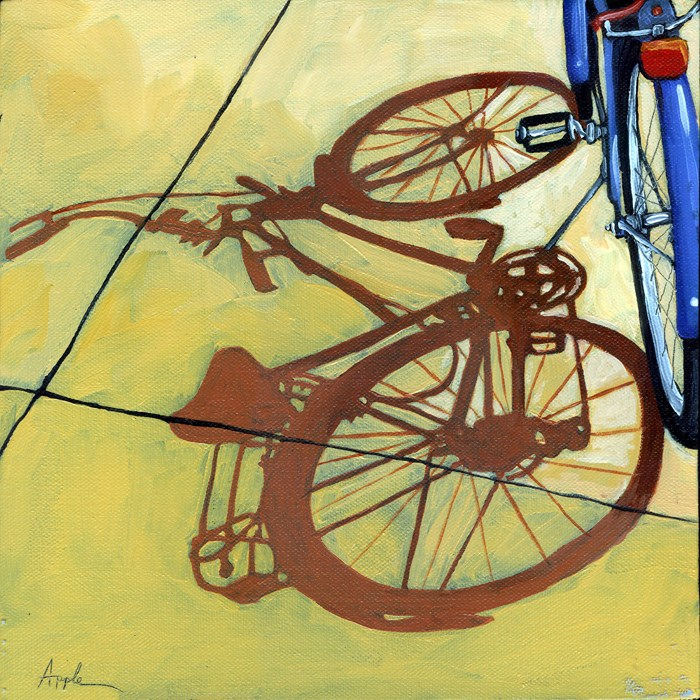 """""""The Blues - bicycle series painting"""" original fine art by Linda Apple"""