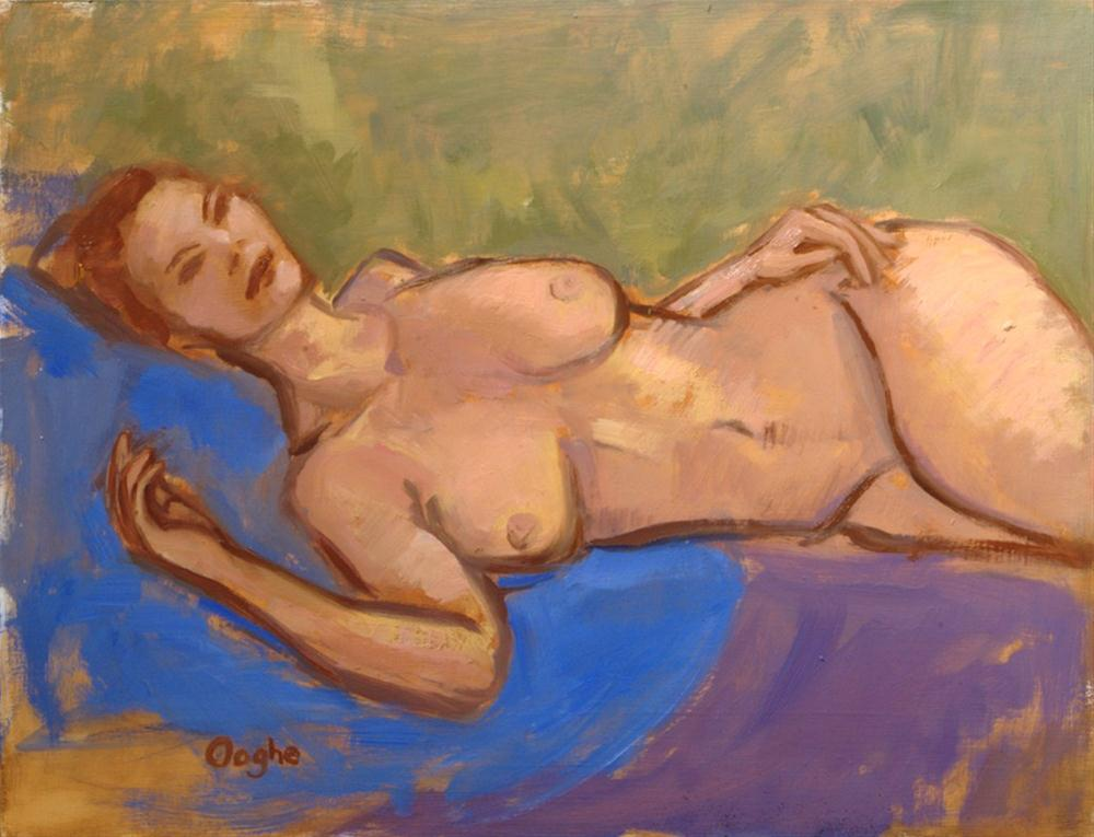 """Nude on Field of Green"" original fine art by Angela Ooghe"