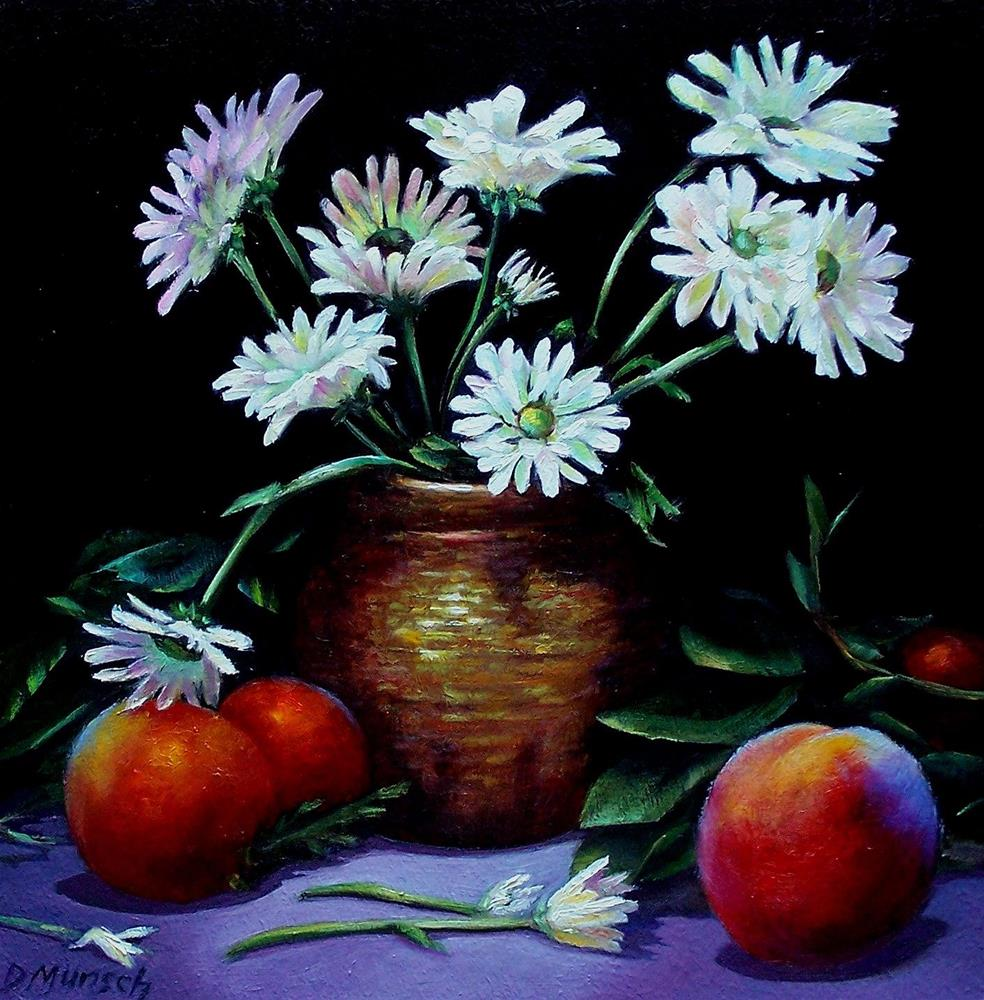 """White Daisies and Peaches"" original fine art by Donna Munsch"