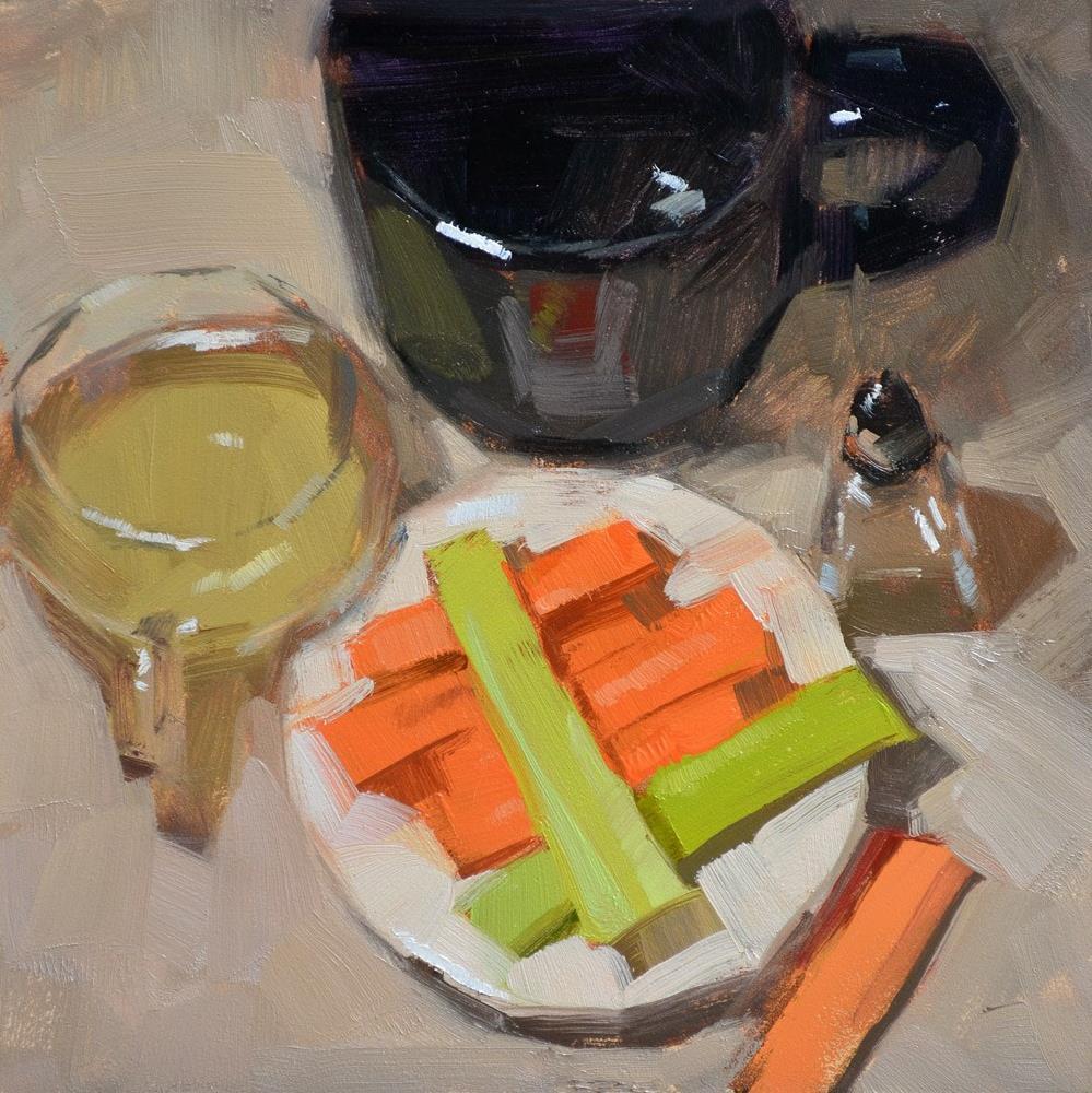 """Champagne & Snacks"" original fine art by Carol Marine"