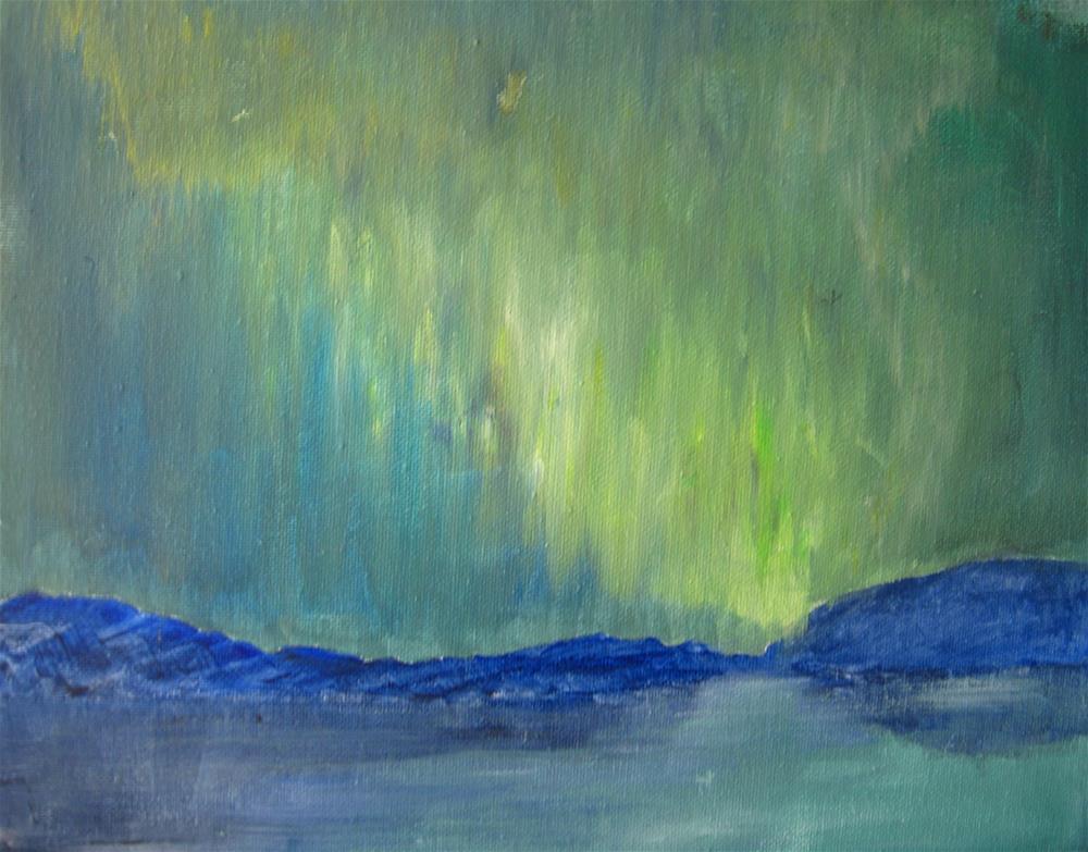"""Green Sky Landscape"" original fine art by Alina Frent"