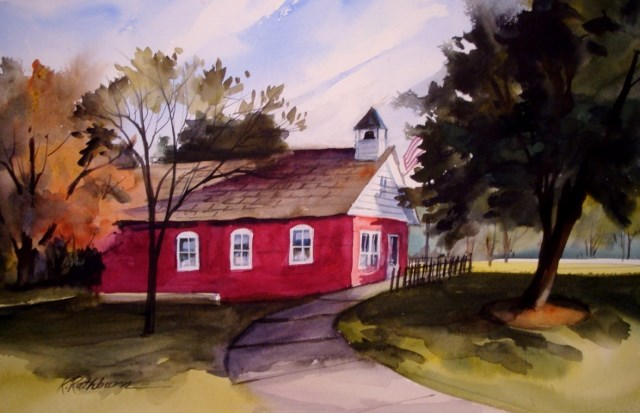 """Little Red School House"" original fine art by Kathy Los-Rathburn"