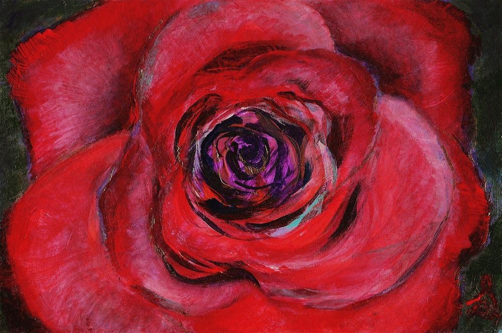 """3083 - Mounted - Crimson Petals"" original fine art by Sea Dean"