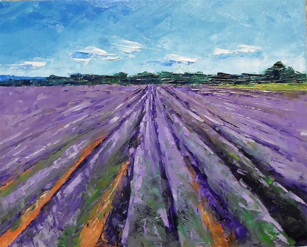 """""""8 x 10 inch oil Lavender Fields"""" original fine art by Linda Yurgensen"""