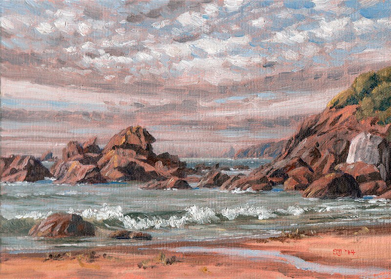 """C1563 North towards Cape Ferrelo  (Harris Beach, Brookings, Oregon Coast)"" original fine art by Steven Thor Johanneson"