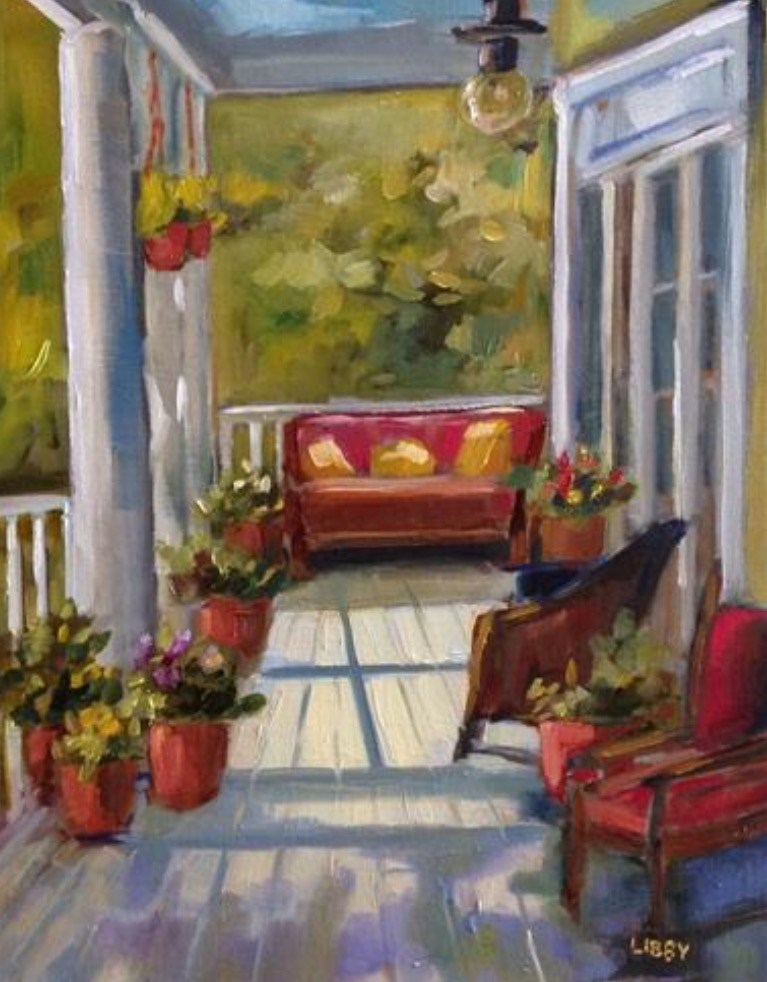 """Moonlight Porch"" original fine art by Libby Anderson"
