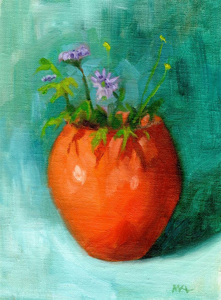"""Orange Vase with Purple Flowers"" original fine art by Marlene Lee"