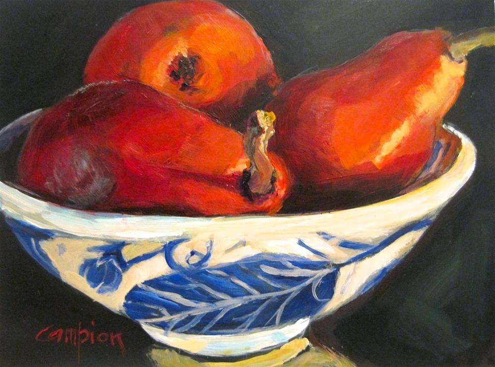 """449 Red Pears"" original fine art by Diane Campion"
