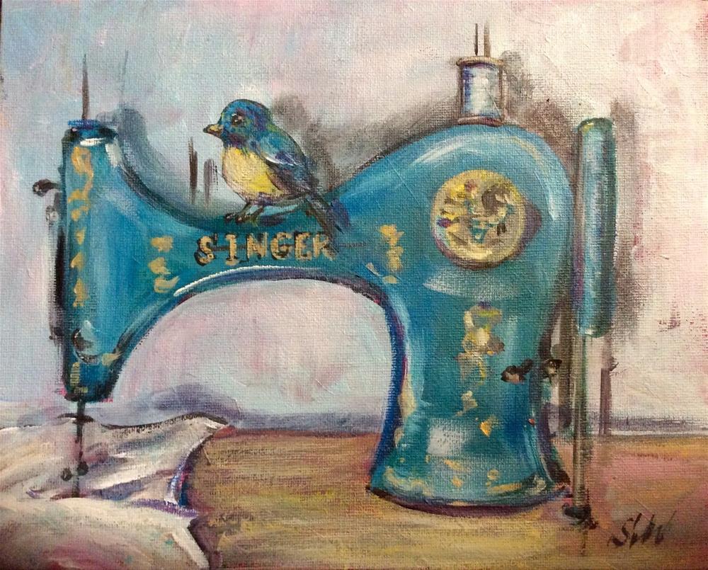 """""""Blue Zinger sewing machine"""" original fine art by Sonia von Walter"""