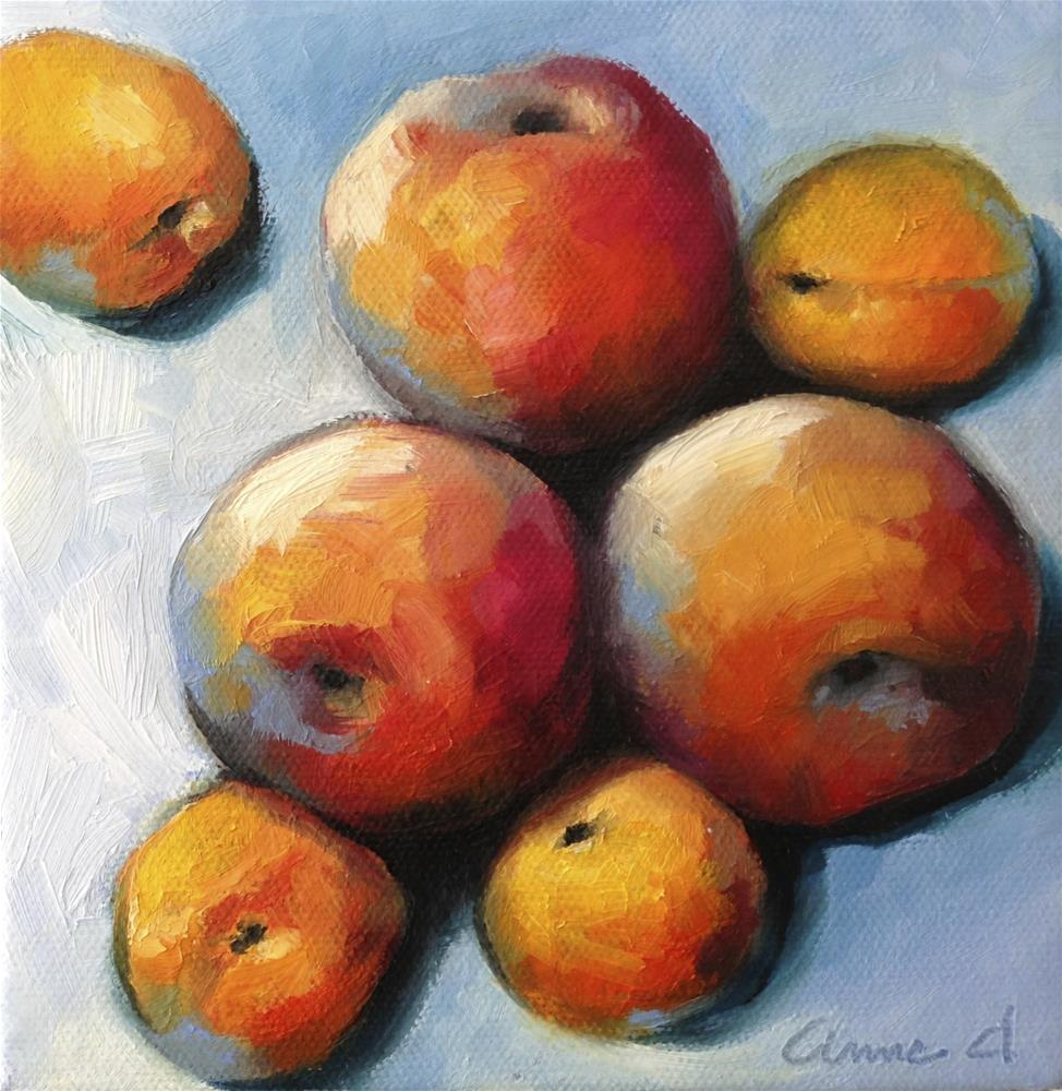 """""""Peach Cuddle with Apricots"""" original fine art by Anne Ducrot"""