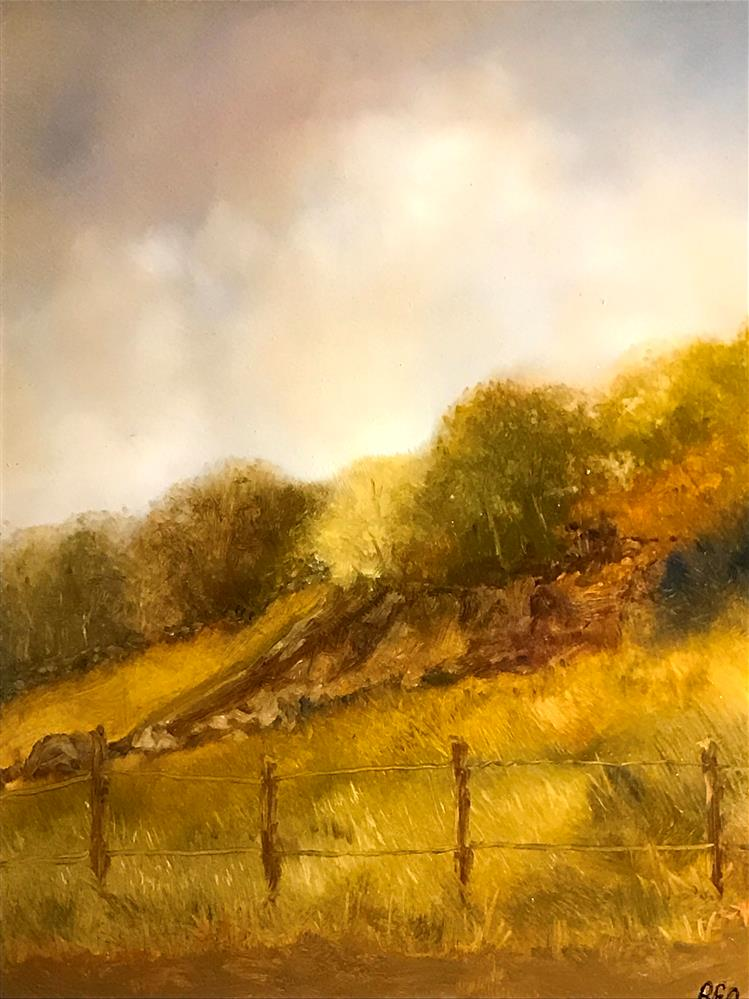 """golden hill by the pasture"" original fine art by Betty Argiros"