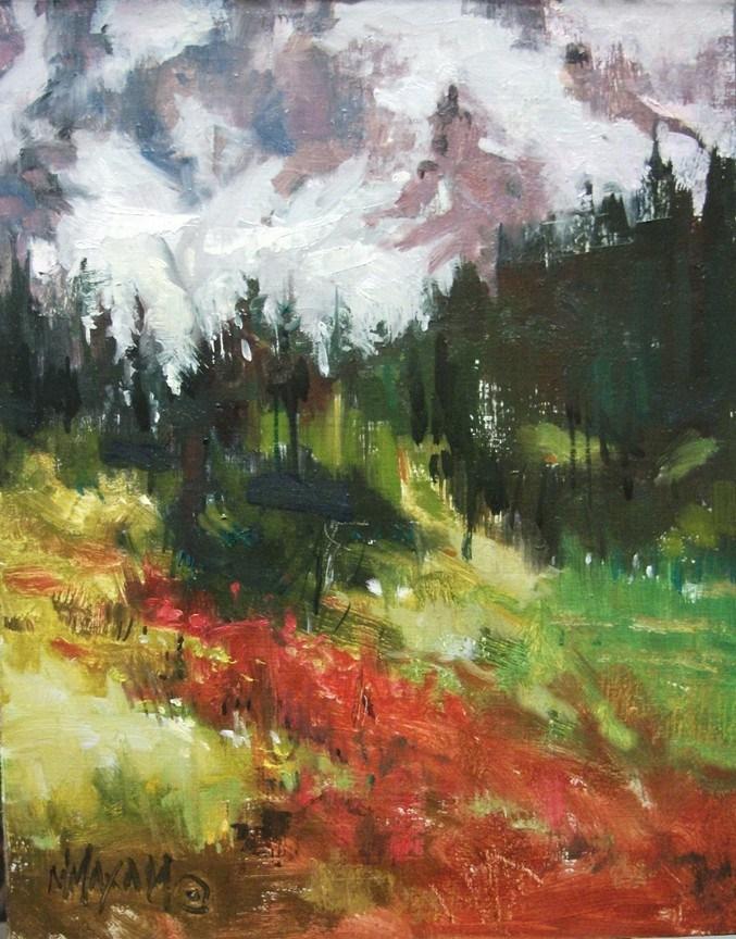 """Wildflower Trail - colorful oil Mt. Rainier northwest"" original fine art by Mary Maxam"