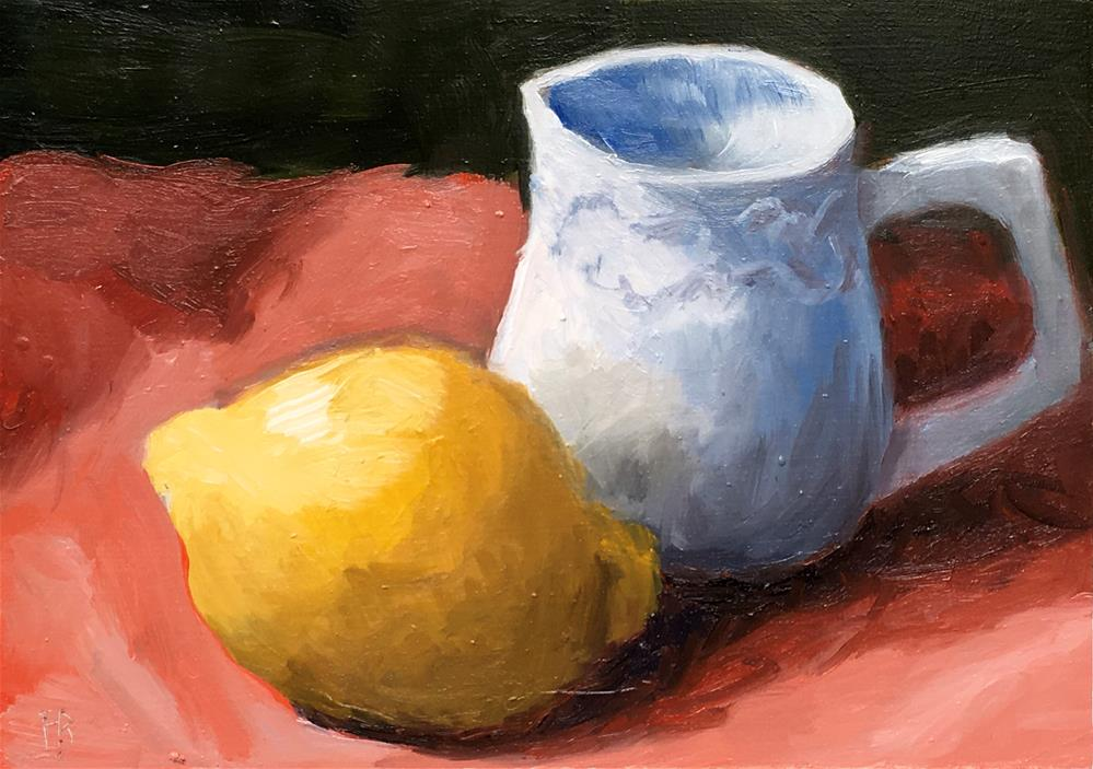 """""""024 Lemon and Small Pitcher"""" original fine art by Fred Bell"""