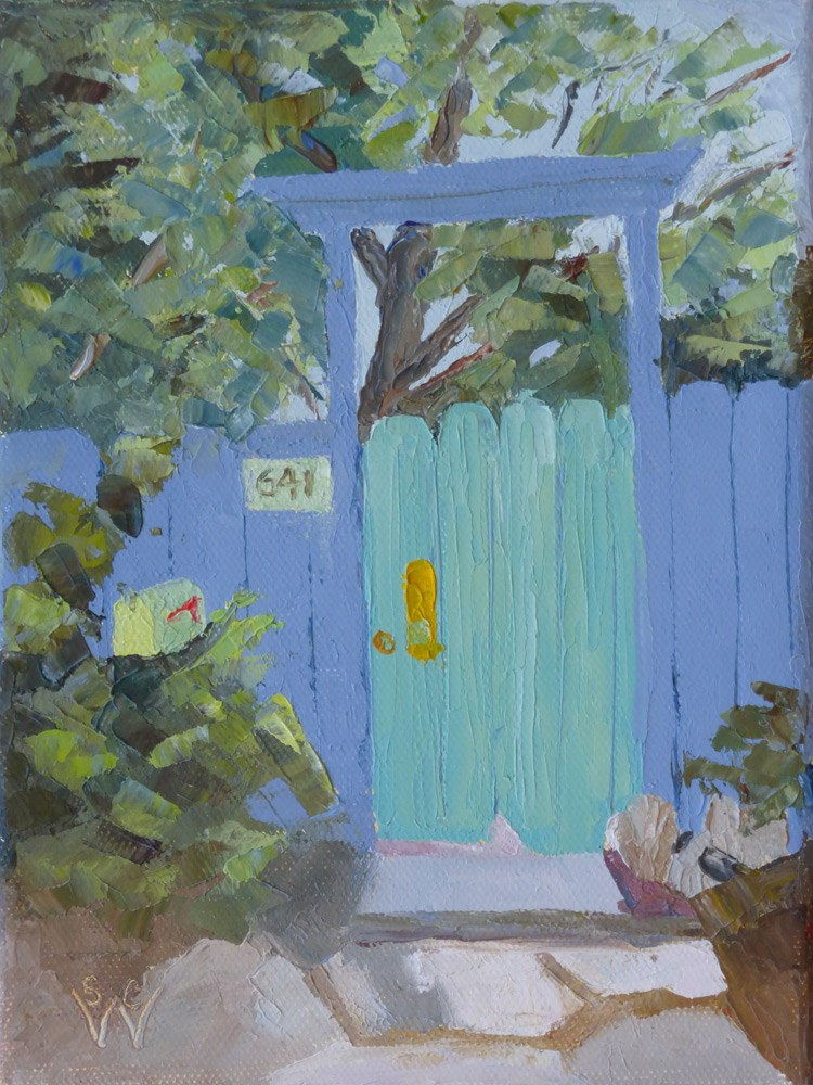 """Blue & Green Entry"" original fine art by Susan Woodward"