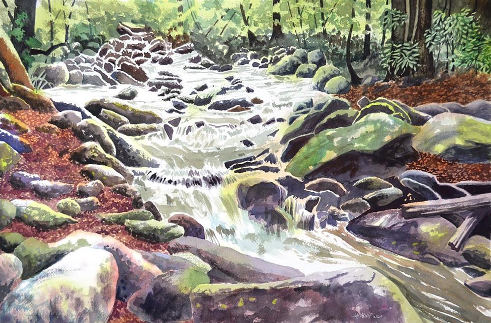 """Gatlinburg Stream"" original fine art by Jeff Atnip"