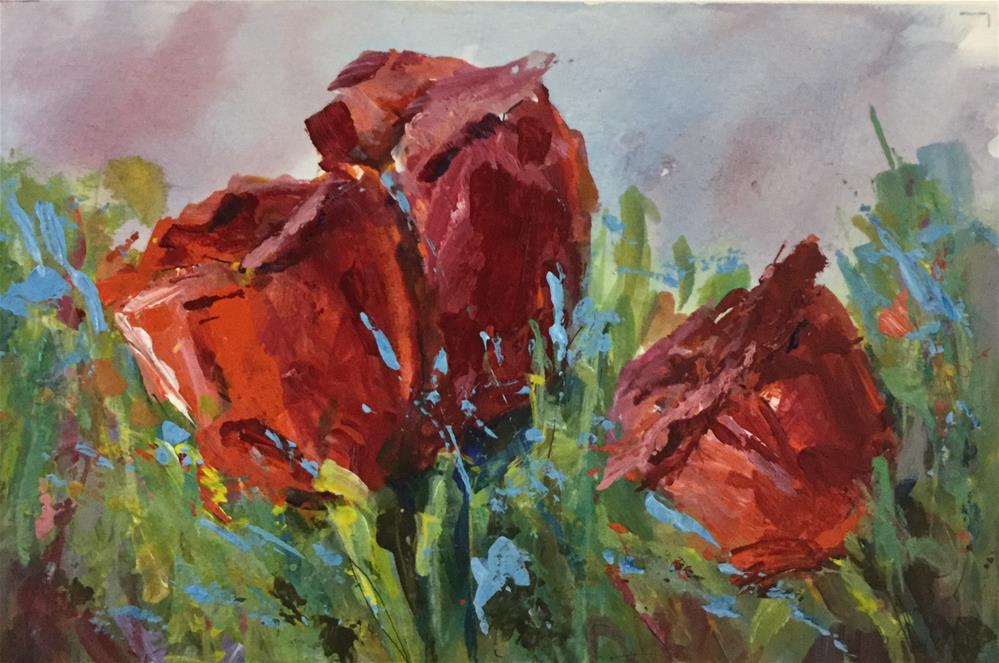 """""""Mixed media red tulip painting."""" original fine art by Alice Harpel"""