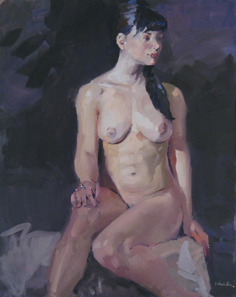 """""""Nude with Silver Rings female figure painting portrait art oil on canvas"""" original fine art by Sarah Sedwick"""