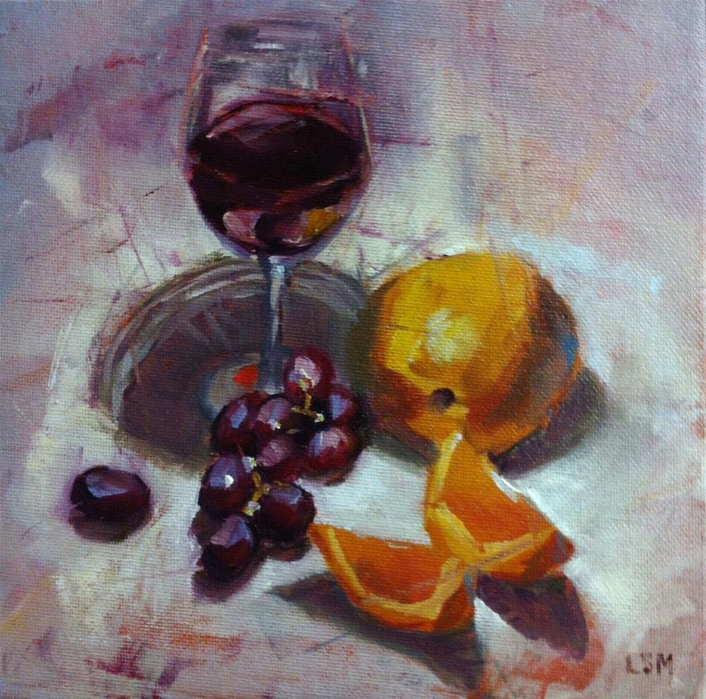 """Red Wine and Oranges"" original fine art by Linda Marino"