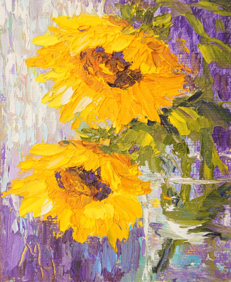 """Sunshine Flowers"" original fine art by Marion Hedger"