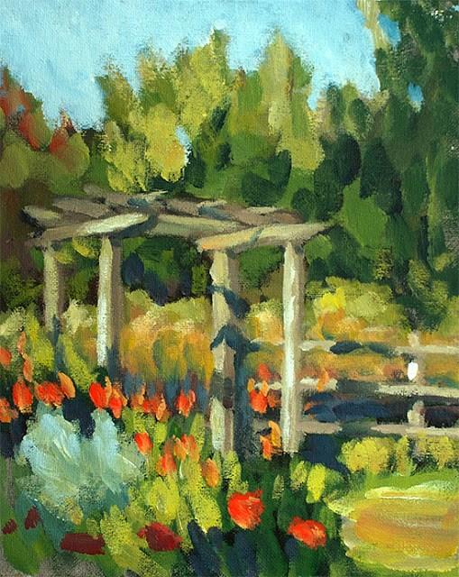 """Garden Gateway"" original fine art by J. Farnsworth"