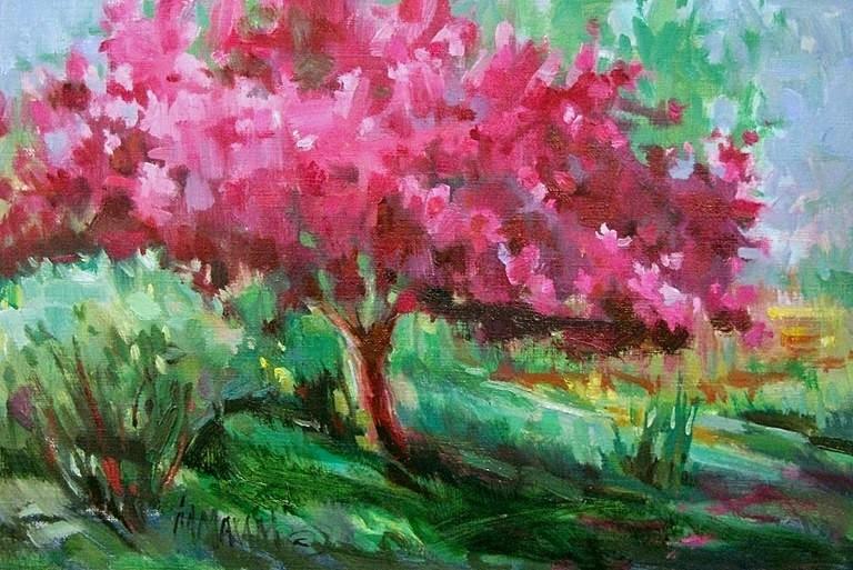 """Spring Tree -  and Memories"" original fine art by Mary Maxam"