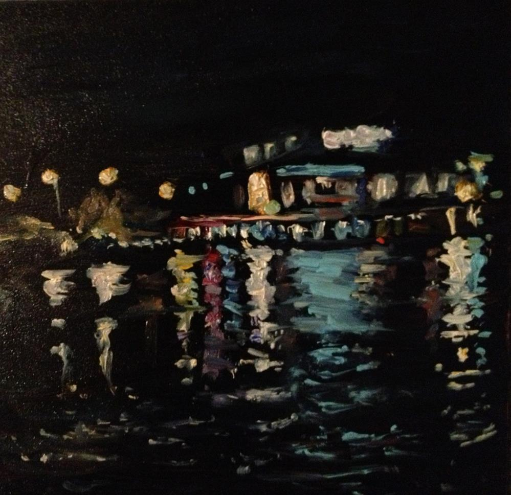 """""""Lights on the Water"""" original fine art by Claudia L Brookes"""
