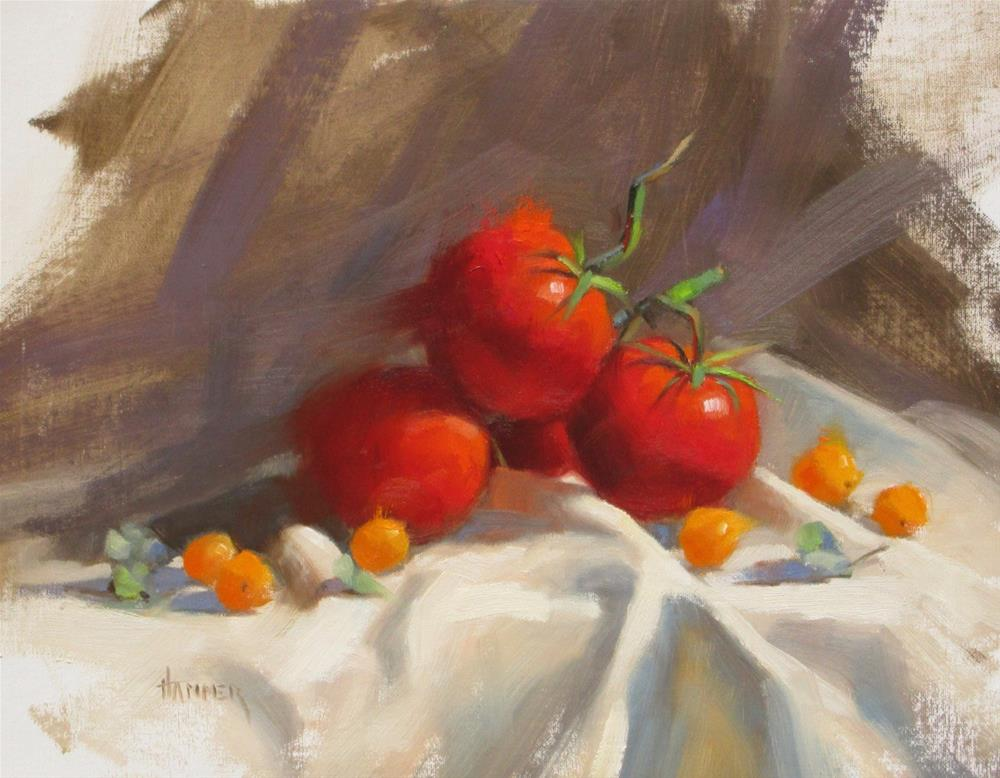 """Tomatoes  11in x 14in  oil"" original fine art by Claudia Hammer"