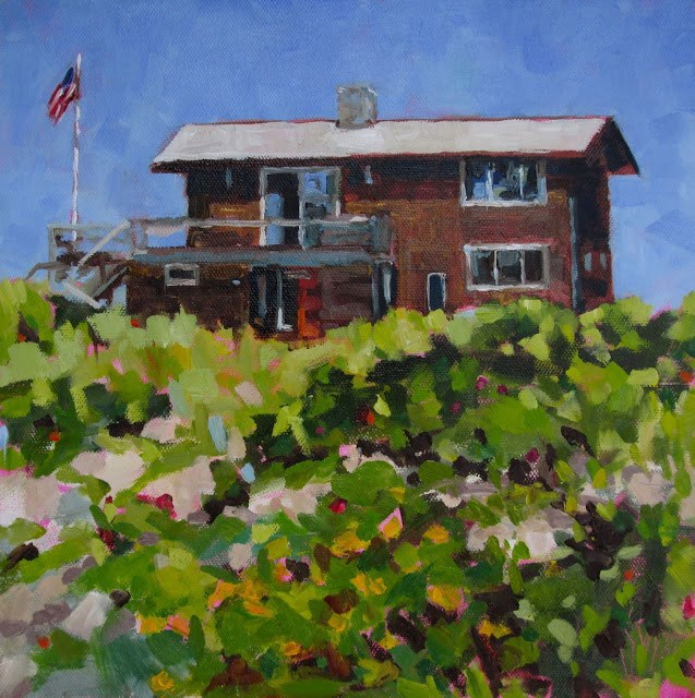 """""""Nanny's Beach House- Love painting and living near the ocean. This is the house of a friend."""" original fine art by Mary Sheehan Winn"""