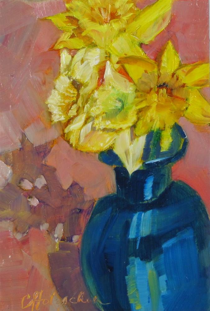 """First Daffodills"" original fine art by Christine Holzschuh"