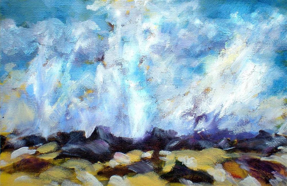 """""""Winter Surf @ Wawaloli - sk83"""" original fine art by richard rochkovsky"""