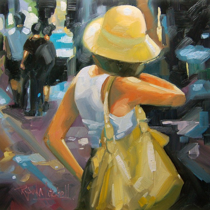 """""""No 517 Hat and the Bag"""" original fine art by Robin J Mitchell"""