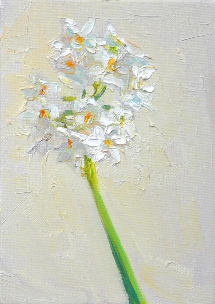 """Paper Whites Flowers,still life,oil on canvas,7x5,price$175"" original fine art by Joy Olney"