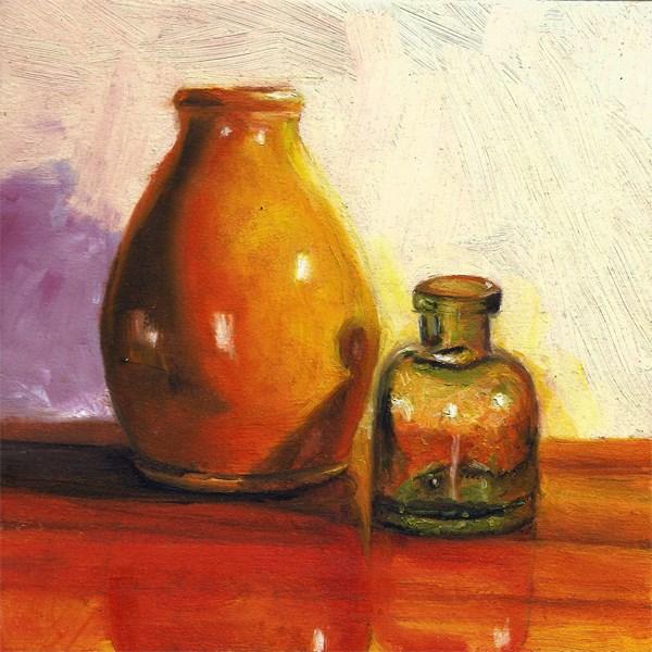 """""""Antique ink bottle with vase"""" original fine art by Peter J Sandford"""