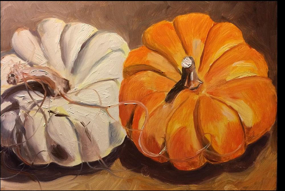"""Pumpkins"" original fine art by Kim Clay"