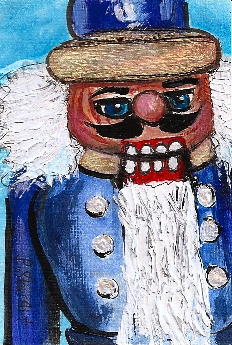 """ACEO Nutcracker Series 201 Blue Soldier Christmas Toy Original SFA Penny StewArt"" original fine art by Penny Lee StewArt"