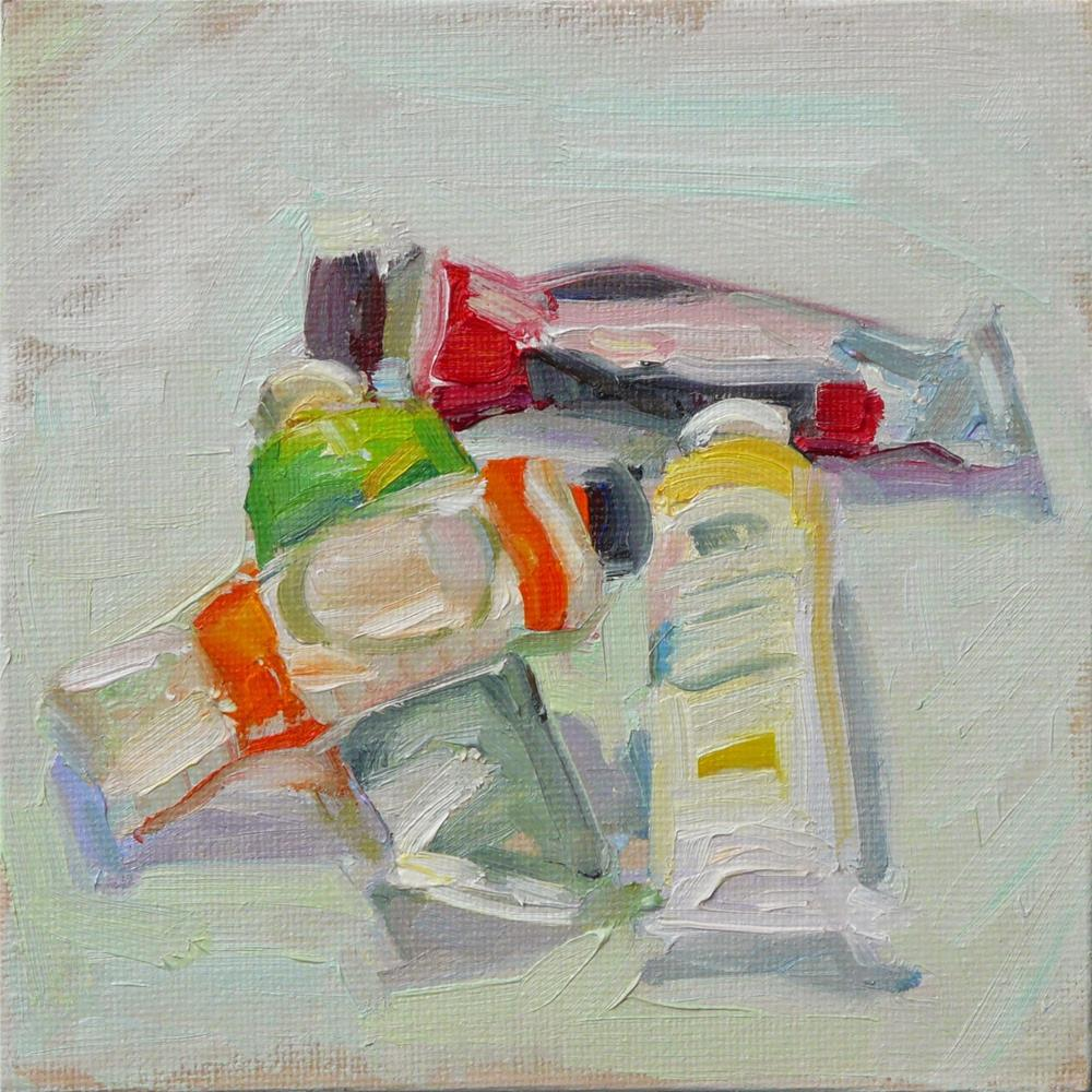 """Paint Tubes on Table,still life,oil on canvas,6x6,price$200"" original fine art by Joy Olney"