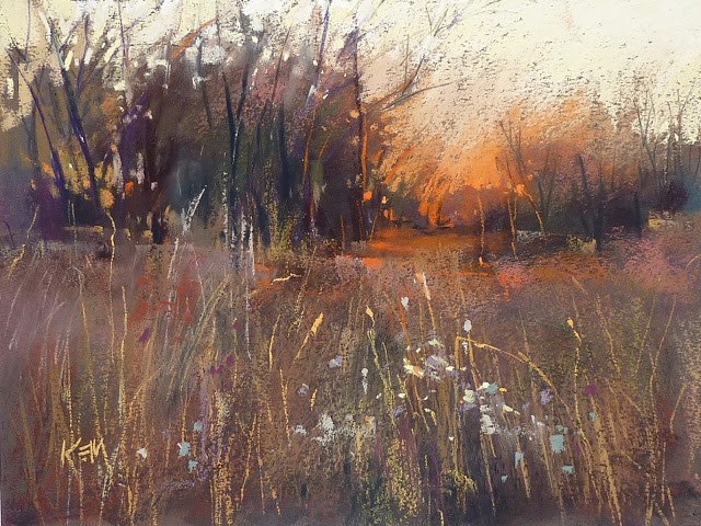 """""""Favorite Paintings of 2016: Sunset and Weeds"""" original fine art by Karen Margulis"""