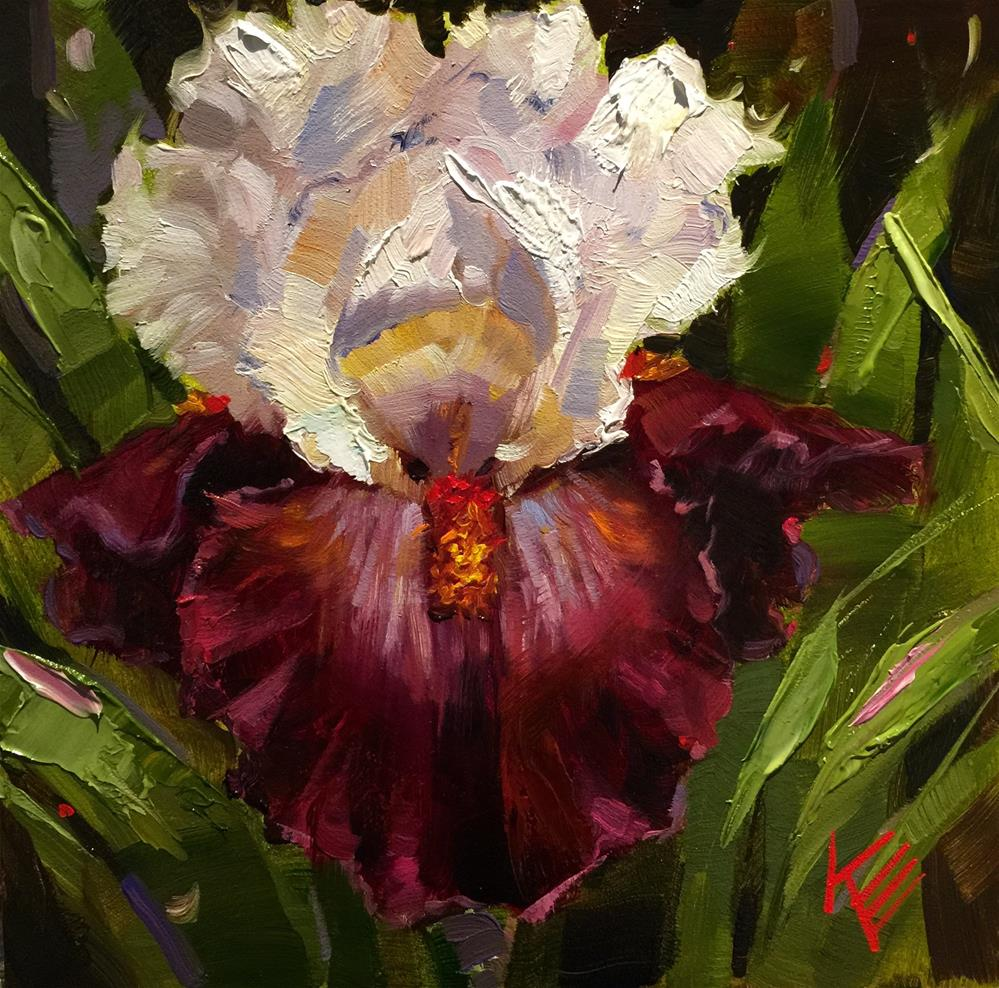 """Connection ~ tall bearded irises"" original fine art by Krista Eaton"