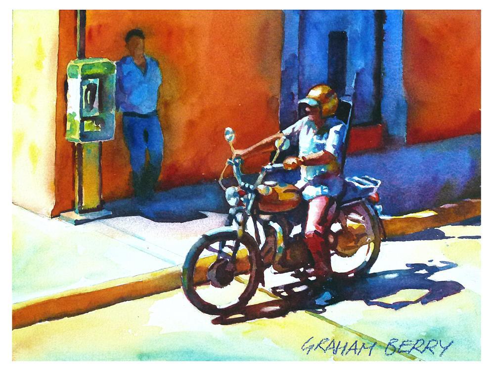 """Motorbiker."" original fine art by Graham Berry"