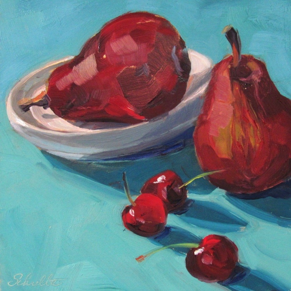"""""""Red Pears and Cherries"""" original fine art by Lynne Schulte"""